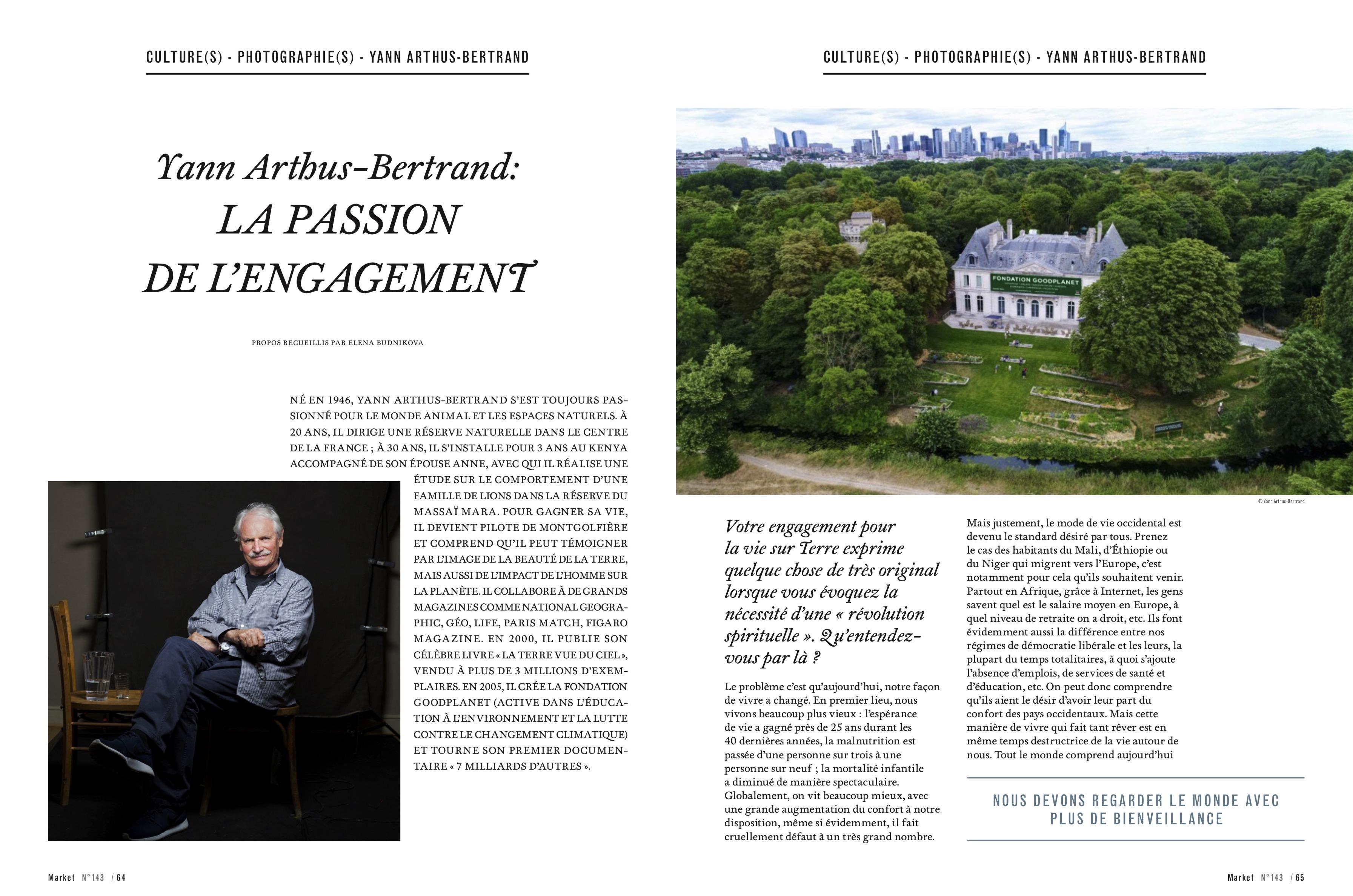 Magazine Market № 143, Geneva. Interview and portrait of Yann Arthus-Bertrand